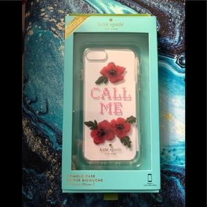 NIB Kate Spade iPhone 7 Needlepoint Call Me Case